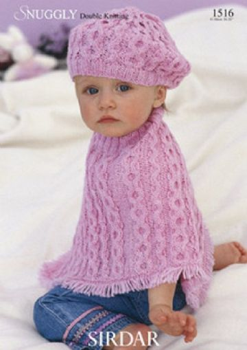 Sirdar Snuggly Knitting Pattern 1516, Poncho and Beret , 16-26ins, 41-66 cm